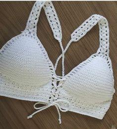 Pinsperation Crochet Shirt, Crochet Crop Top, Diy Crochet, Crochet Bikini, Bikini Modells, Crochet Woman, Vintage Crochet, Crochet Clothes, Crochet Projects
