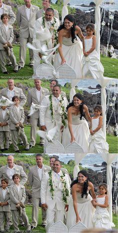 dove release, destination wedding, Honua Kai Estate, Maui wedding, White birds, white doves