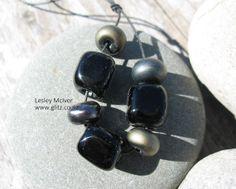 3 Black Glass Organic Block Beads with 4 Black by GlitzArtGlass, $20.00