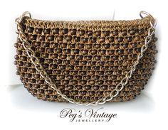 Unique Rare Goldco Brown Rattan Purse Wicker Vintage Handbag