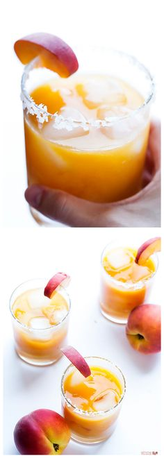 Fresh Peach Margaritas -- made simple with fresh peaches, these sweet and refreshing drinks are perfect for summer!   gimmesomeoven.com #drinks