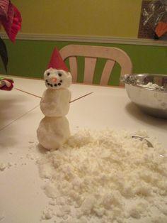 Faire de la neige ½ tasse de revitalisant a cheveux 3 tasses de bicarbonate de soude  Make snow 250 ml hair conditioner 750 ml of baking soda