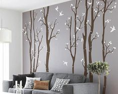 Oriental Ink Painting Wallpaper Wall Mural, Flowers Birds Theme Wall Art for Bedroom Living Room, Spring Floral Tree Wall Decor Wall Decor Nursery Wall Stickers, Wall Decor Stickers, Vinyl Wall Decals, Painting Wallpaper, Wall Wallpaper, Tree Wall Painting, Ink Painting, Birch Tree Decor, Birch Tree Mural