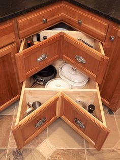 Easy way to organize and take full advantage of that pesky corner cupboard.