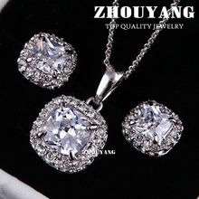 Top Quality ZYS009 18K White Gold Plated Elegant Wedding Jewelry Necklace Earrings Set Made with Austrian Crystals(China (Mainland))