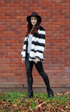 Bershka black and white fur coat, leather leggings, UK Fashion Blogger