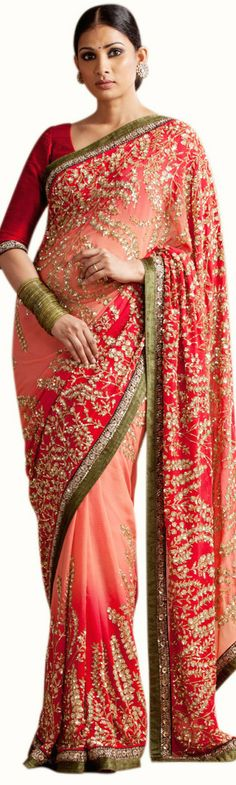 This saree featured in the peach and red colour georgette fabric. The border of the saree is handcrafted in zardozi work and. The blouse is in red colour dupion silk with zardozi embroidery. This saree can be customized in any color of your choice. Sabyasachi Sarees, Georgette Sarees, Indian Sarees, Silk Sarees, Sabyasachi Designer, Georgette Fabric, Designer Sarees, Cotton Saree, Lehenga