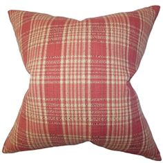 Toss this square pillow on your sofa, bed or seat for a cozy and stylish accent. This decor pillow features a classic plaid pattern in shades of red and natural. This throw pillow is versatile and mixes well with solids and other patterns. Make your living room or bedroom comfier by spreading a few of this 100% cotton-made square pillow. $55.00  #homedecor #accentpillow #pillows