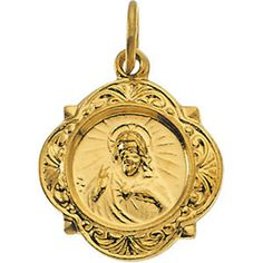 14kt Yellow Gold 12.14x12.09mm Sacred Heart of Jesus Medal Religious Jewelry by SugaredJewels on Etsy