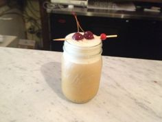 The #TrueGrit cocktail: Makers Mark, cane sugar, Mad Tom Muskoka #IPA, a whole egg & bourbon cherries.