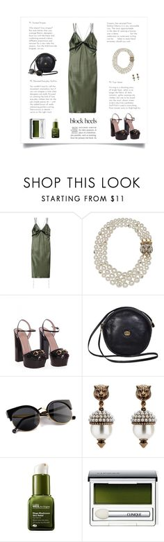 """Gucci Block Heels Edition"" by butterflykisses89 ❤ liked on Polyvore featuring Alexander Wang, Gucci, Origins and Clinique"