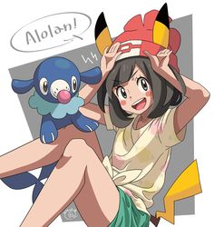 Pokémon Sun and Moon: Popplio and Alola Trainer dressed as Pikachu