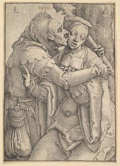A Fool Kissing a Woman (circa 1520), Lucas van Leyden. Netherlandish engraving, The Metropolitan Museum of Art.