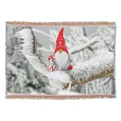 Elf in Ice Storm with Presents and Red Hat Throw Blanket