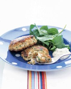 Lemon-Parsley Fish Cakes | Martha Stewart Living - These light cod cakes have very few fillers (unlike their less-healthy crab cake counterparts) so each bite is packed with protein and flavor. Freeze them so you have a ready-to-go meal without the fuss.