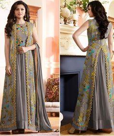 Designer Dresses plus size Party Wear Maxi Dresses, Shrug For Dresses, Indian Gowns Dresses, Pakistani Dresses, Indian Outfits, Long Dresses, Stylish Dresses, Fashion Dresses, Fancy Kurti