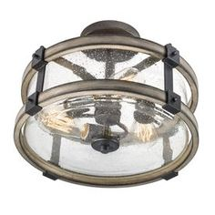 Kichler Barrington 14.02-In W Anvil Iron And Driftwood Clear Glass Semi-Flush Mount Light 38190
