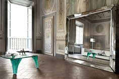 Kadre - Espejo de pie enmarcado y de pared con 4 hojas curvadas 6mm versión neutra o Titanio