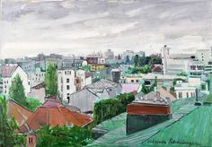 """""""The city from above"""" by Alma Redlinger inspiration for Oil on Canvas I Silk on Skin by Andreea Buga - Forbes. City From Above, How To Make Oil, City Scene, Argo, Oil On Canvas, Childhood, Urban, Cityscapes, Painting"""