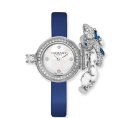 """CHAUMET-Hortensia collection """"Voie Lactée"""" Secret Watch -small model-  Secret watch bringing together Chaumet's two-hundred year know-how in jewellery and watchmaking. A jewelled bouquet of hortensias revealing a natural Mother-of-Pearl dial Diamonds, Sapphires, and Chalcedony."""
