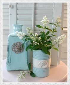 aqua_can_and_bottle_shaby_painted_home_decor