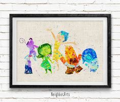 Inside Out Poster, Emotions Disney Watercolor Art Print, Kids Decor, Wall Art, Home Decor, Gift, Not Framed, Buy 2 Get 1 Free! by NeighborArts on Etsy https://www.etsy.com/listing/242958847/inside-out-poster-emotions-disney