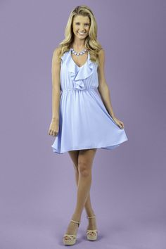 The perfect Spring dress! Must have, dream blue dress with ruffle detail! Spring perfection! Trend alert!