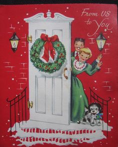 Vintage Christmas Greeting Card Jolly Couple at the Front Door