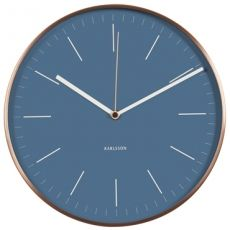Karlsson 27.5cm Minimal Blue with Copper Case Silent Wall Clock