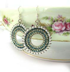 Beaded Silver earrings. Hoop Earrings. in shades by SigalsDesigns