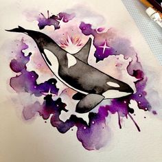 Watercolour Orca by Isla McDonald | Tattoo artist in Perth, Scotland