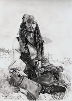 This is the last of my Captain Jack pics for a while, but more Pirates related stuff will be appearin. A Pirate's Life for Me Caribbean Art, Pirates Of The Caribbean, Jack Sparrow Drawing, Captain Jack Sparrow, Celebrity Drawings, Pirate Life, Mural Wall Art, Baby Dragon, Fantasy Movies