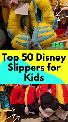 Best Disney slippers for kids. Great for wearing around the house or on a Walt Disney World or Disneyland trip! Themed to to popular Disney characters like Mickey Mouse, Flounder, Woody, Buzz Lightyear, Forky, Captain America, Ariel, Rapunzel, Spider-Man, Pua, Tinker Bell, Donald Duck, Marie, Moana, Baby Yoda, Elsa, Olaf, Minnie, Dory, Nemo, Belle #WDW #BatB #Frozen #LittleMermaid #Avengers #ToyStory #DuckTales #StarWars #TheMandalorian #Aristocats #Cars #BlackPanther…