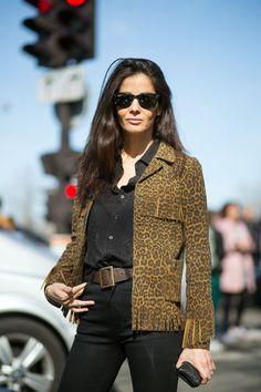 Barbara Martelo in Saint Laurent jacket