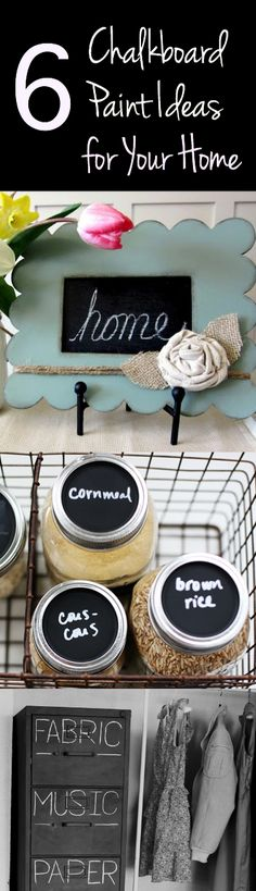 6 Chalkboard Paint Ideas ~ These would make fun gift ideas too for a new neighbor, a thank you or the holidays!