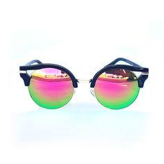 Retro Half Horn Rimmed Mirror Lens Sunglasses (Pink)