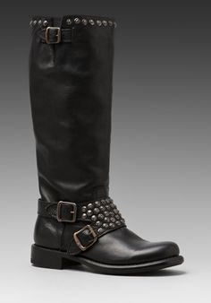 Frye Jenna Studded Tall Boot in Black pair these with a skinny jean or leggings or a chevron skirt! Ooooo