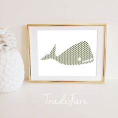 Whale Print Nautical Black Tan Taupe Pattern Instant by TradeFare
