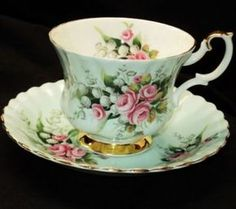ROYAL ALBERT PINK ROSES SNOWDROPS BLUE TEA CUP AND SAUCER in Pottery & Glass, Pottery & China, China & Dinnerware | eBay