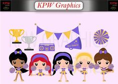Purple and Gold Cheerleader Clip-art Set in a PNG format. Personal & Small Commercial use