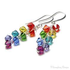 Swarovski Crystal Rainbow Earrings Red Orange Yellow Green