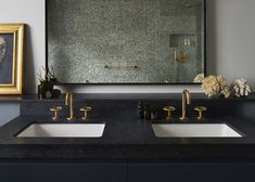 The Watermark Collection's Brooklyn taps, showers and accessories in Tarnished Brass finish bring warmth and character to this bathroom and compliment the owner's eclectic style.