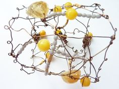 copper wire citron cuff bracelet...embellished with yellow chalcedony, grey and gold class...metal buttons for closure on Etsy, $52.00