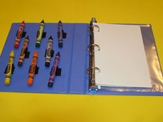 To make the Crayon Busy Book you will need 3-ring binder, some crayons, some paper, and sticky-back velcro. I used the velcro to attach the crayons to the inside cover of the 3-ring binder. This makes it easier to keep track of crayons so they don't get lost.