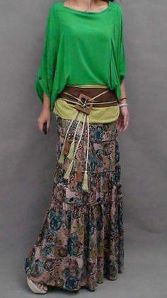 Green Bohemian Boho-Chic Floral Skirt