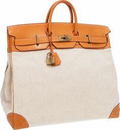 Hermes Vache Naturelle & Toile HAC Travel Birkin Bag with Gold Hardware Hermes Bags, Hermes Handbags, Fashion Handbags, Handbag Stores, Small Bags, Travel Bags, Bag Accessories, Birkin Bags, Hermes Vintage