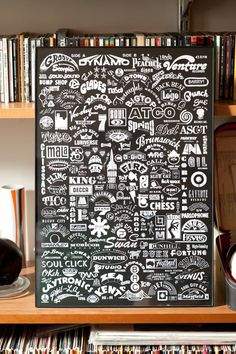 """Get your groove on with this sleek and modern print. Comprised of old soul labels from yesteryear this poster celebrates a time when vinyl was king. This will look great in any home, apartment, studio, shop, or store.     13x19 white on black. Digitally printed on matte paper."""