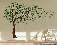 Tree Wall Decals Baby Room Decal Vinyl Wall Decal Wall Sticker-Blowing in the Wind (83 H)- Designed by Pop Decors via Etsy