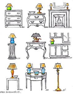 """Interior Decorating with ACCENT LAMPS When matching an end table and table lamp, their combined height should be 58 to 64 inches. All lamp tops in a room should end up between 58 to 64"""" to keep them even across the room"""
