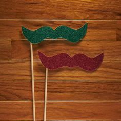 Christmas Mustaches Photo Booth Prop Set  Glitter by LoveMischka